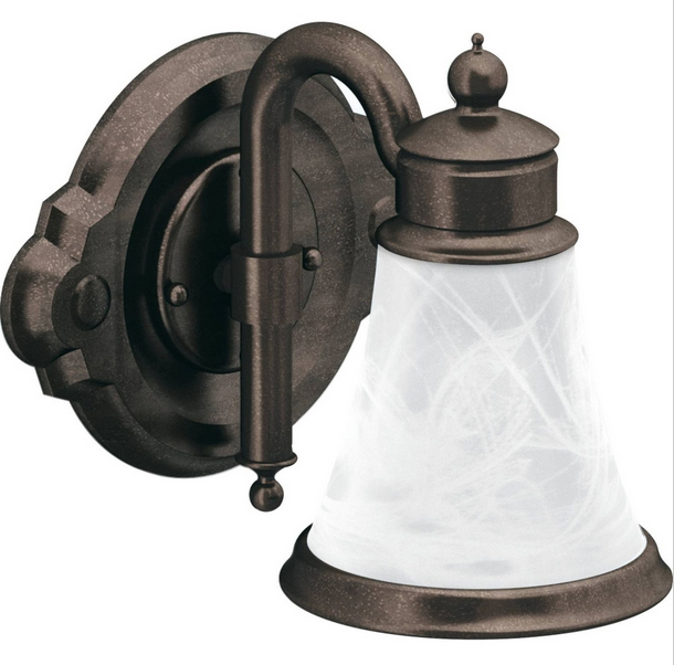 Moen | YB9861ORB | MOEN YB9861ORB WATERHILL LIGHT FIXTURE 1-GLOBE ORB OIL RUBBED BRONZE